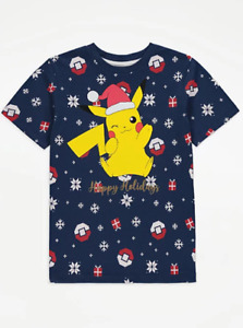 Boys Pokemon Christmas Top T-Shirt Pikachu Casual Kids Childrens Short Sleeve