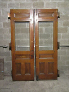 ~ ANTIQUE DOUBLE ENTRANCE FRENCH DOORS BEVELED GLASS ~ 60 X 95 ~ SALVAGE