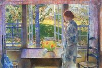 The Goldfish Window by Childe Hassam Giclee Fine ArtPrint Repro on Canvas