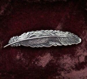 FEATHER BARRETTE ~ STERLING SILVER PLATED BRASS ~ A BEAUTY!