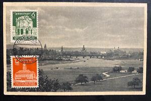 1946 Dresden Germany RPPC Postcard Cover Sc#13B1-2 Bridge View