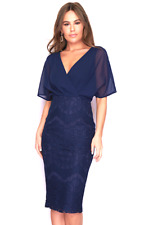Womens Ladies Navy Lace Batwing Dress Dressy Occasion Wedding 10 12