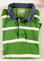 RB Sellars Mens Green & White Short Sleeve Cotton Polo Top - Rugby Jersey 2XL