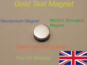 2 x Large Neodymium Test Magnets - Testing Gold Silver Coins Fakes - Fast UK P&P