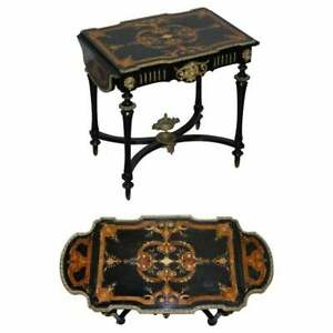 19TH CENTURY LOUIS PHILIPPE EBONISED MARQUETRY INLAID BRONZE EXTENDING TABLE
