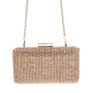 RRP €115 MARCIANO GUESS Satin Clutch Evening Bag Rhinestones Front Chain Strap