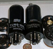 2 USA Tung-Sol 6V6GT BLACK GLASS audio amp tubes Hickok tested VG