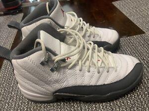 Nike Air Jordan Retro 12 White Dark Grey Sneakers GS Size 6Y 153265-160