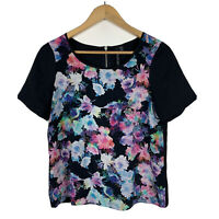 Forever New Womens Top Size 10 Floral Multicoloured Short Sleeve Silk Front