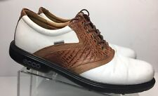 Ecco Golf Shoes Saddle Gore Tex Oxford Croc Pattern Brown White Sz 45 11 - 11.5