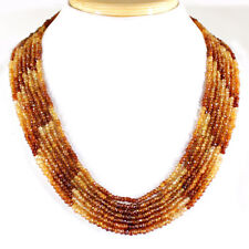 GENUINE ATTRACTIVE 312.05 CTS NATURAL 7 LINE HESSONITE GARNET BEADS NECKLACE