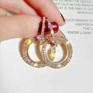 Women's Swarovski Element Crystal Circle Hoop Party Earrings Rose Gold New Shine