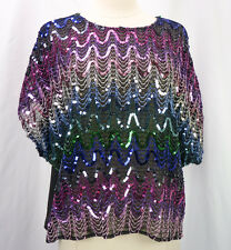 Vintage 70s 80s Disco Gauze Rainbow Sequin Stripe Crop Top Plus Size 44 1X