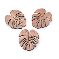 10pcs Camel Undyed Wooden Big Pendants Monstera Leaf Charms DIY Crafting 49x45mm