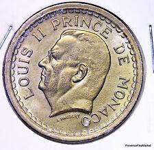 Monaco, Louis II, 2 Francs, 1945, Aluminum-Bronze, KM:121a,...AC253
