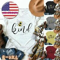Women Letter Print Cute Funny Bee Kind V Neck Short Sleeve T-Shirt Tops Summer