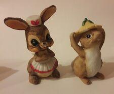 Vintage Set of 2 Brown Bunny Rabbit Figurines Hare Yellow Flower Hat 80's Vtg