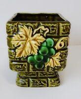 Green Planter Rubens Originals Grapes Bricks Square Ceramic Vtg Made in Japan