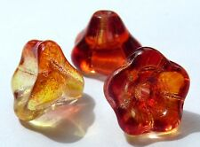 13 (mm) LARGE CZECH GLASS TRUMPET/FLOWER BEADS - CHOICE OF COLOURS - PACKS OF 10