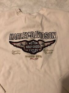 Harley Davidson Cycles White Long Sleeve Thermal Button Embroidered Vintage L