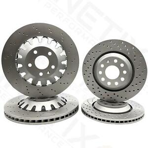 FOR AUDI RS3 8P 11-12 FRONT REAR CROSS DRILLED BRAKE DISCS 370mm 310mm FR RR