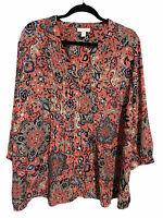 Charter Club Button Down Shirt Paisley Print Top Blouse Women's Plus Size 2X