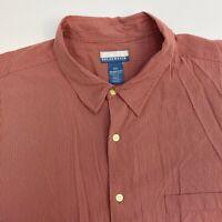 Breakwater Button Up Shirt Mens XXL Red Stripe Short Sleeve Casual