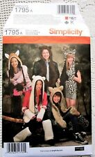 1795 SEWING PATTERN~UNC~ADULT/TEEN BOYS/GIRLS COSTUME:ANIMAL HAT&LEG+ARM WARMERS