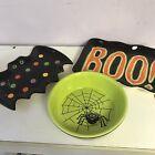 3pc  HALLOWEEN  Spider Bowl / Bat Plate/ Boo Plate Lot