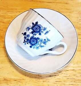 Royal Blue Ironstone Wedgwood Vintage Enoch Tunstall Teacup & Saucer Set