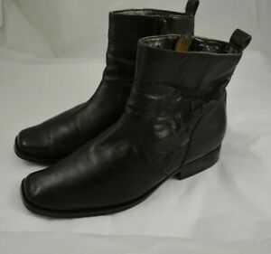 Mens ROCKPORT Brown Leather Zip Up Ankle Boots Size 9.5 M