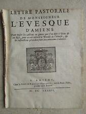 LETTRE PASTORALE EVÊQUE D'AMIENS hérésie diocèse, 1686.