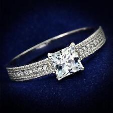 925 STERLING SILVER Princess Cut CZ Engagement Dress Ring Size 5 6 7 8 / J L N P