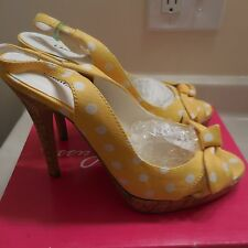 New Charlotte Russe Heels Yellow White spotted Size 7
