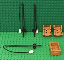 Lego X3 Fishing Pole / Rod With Black String And X3 Adventurers Chest Container
