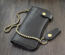 New Mens Biker Black Leather Long Wallet  Zipper Purse With Chain Retro Billfold