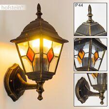 Wandlampe Außenlampe Aussen Wand Leuchte braun Gold Terrasse Balkon Veranda Glas