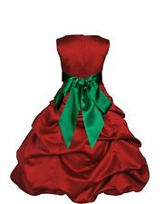 Apple Red Holiday Dress Flower girl Junior Dress Pageant Wedding Sizes 2-16 year