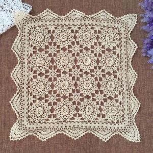 Vintage Square Cotton Crochet Lace Table Cloth Cover Small Tablecloth Beige 50cm
