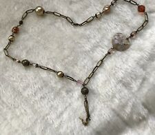 Necklace Costume Large Chain Beads Gold Coral Pink Rose