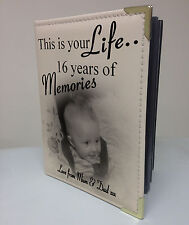 Personalised photo album, memory book, this is your life, 16th birthday gift