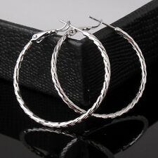 Simple style 18k white gold filled wedding hot sale lady promise hoop earring