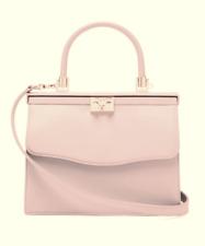 RODO Paris medium Leather Satchel Bag Top Handle Detachable Strap Push Key Lock