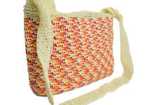 Ladies Cane Straw Handbag Long Shoulder Strap Fancy Beach Bag Shoppers tote