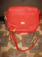 TAHARI SOFT PEBBLED LEATHER RED CROSSBODY MESSENGER PURSE CHAIN LINK GOLD $228