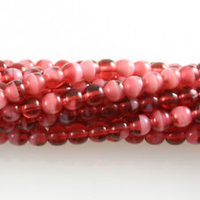 Pearl / Fuchsia Pink Swirl - 50 6mm Round Czech Pressed Glass Druk Beads
