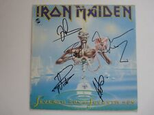 """Iron Maiden Clairvoyant X6 Band Signed 7"""" LP Single Display BECKETT Certified"""
