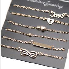 6Pcs Fashion Womens Gold Plated Infinity 8 Heart Shape Bracelets Bangle Set Gift