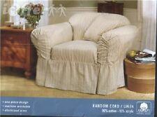 NEW! Chair SLIPCOVER Surefit Random Cord Linen Stripe