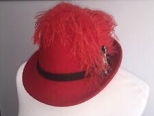 Trachtenhut Hut Damen rot neu Tracht Damenhut, ca 57 grün Federn Hirschanstecker